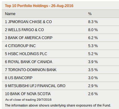 top 10 holdings of BNKS as at 29 July 2016